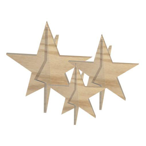 Stjerner, Sæt med 3 stk, egetræ - Felius