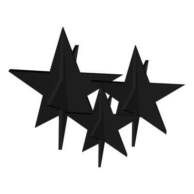 Stjerner, Sæt med 3 stk, sort - Felius